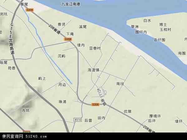 中国福建省漳州市龙海市海澄镇地图(卫星地图)
