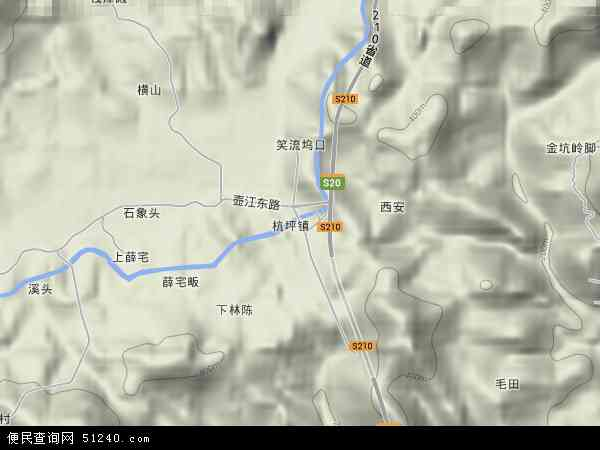 中国浙江省金华市浦江县杭坪镇地图(卫星地图)