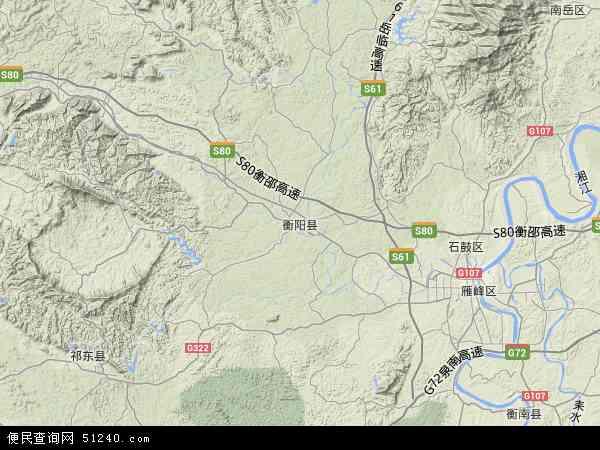 中国湖南省衡阳市衡阳县地图(卫星地图)