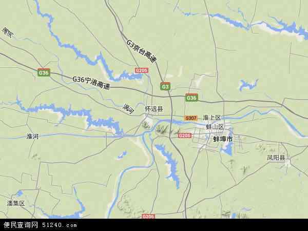 怀远县地图 - 怀远县卫星地图