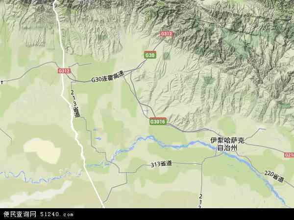 中国新疆维吾尔自治区伊犁哈萨克自治州霍城县地图(卫星地图)