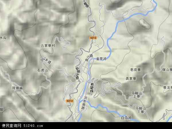 中国云南省红河哈尼族彝族自治州金平苗族瑶族傣族自治县金河镇地图图片