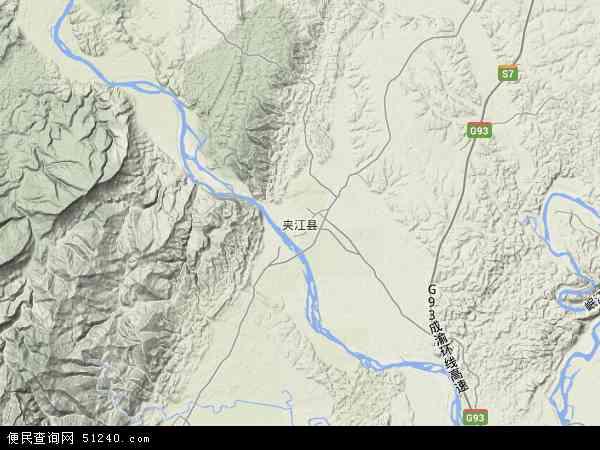 中国四川省乐山市夹江县地图(卫星地图)