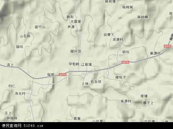 江背镇地形地图