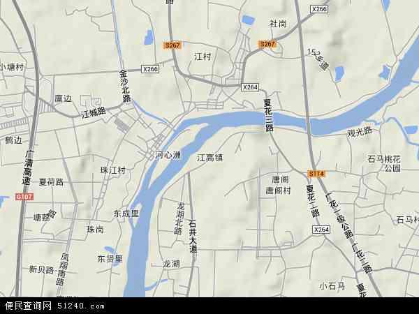 中国广东省广州市白云区江高镇地图(卫星地图)