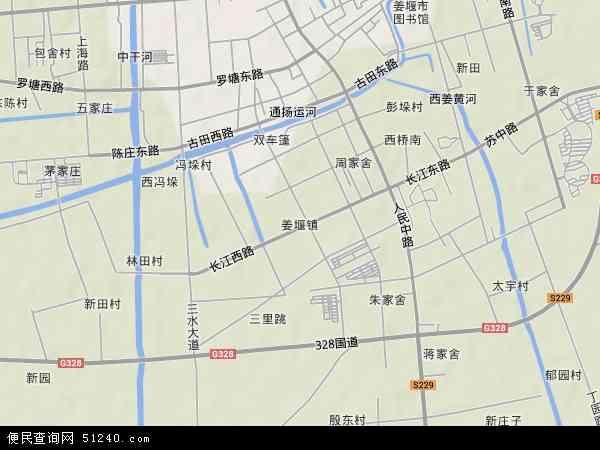 海陵区行政地图