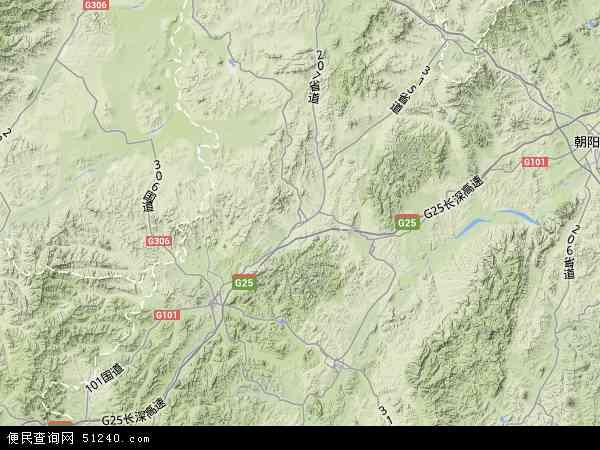 中国辽宁省朝阳市建平县地图(卫星地图)
