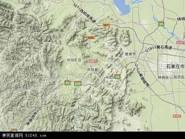 中国河北省石家庄市井陉县地图(卫星地图)