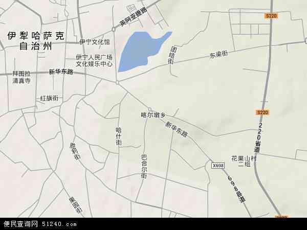中国新疆维吾尔自治区伊犁哈萨克自治州伊宁市喀尔墩乡地图(卫星地图)