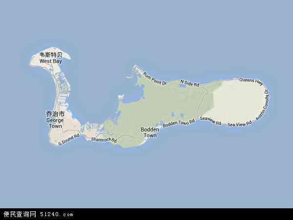 开曼群岛地形图 - 开曼群岛地形图高清版 - 2016年开曼群岛地形图