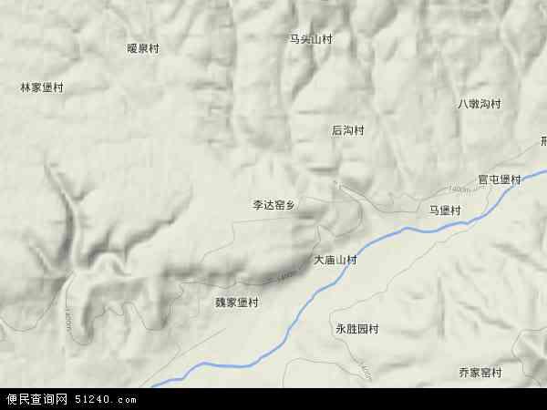 中国山西省朔州市右玉县李达窑乡地图(卫星地图)