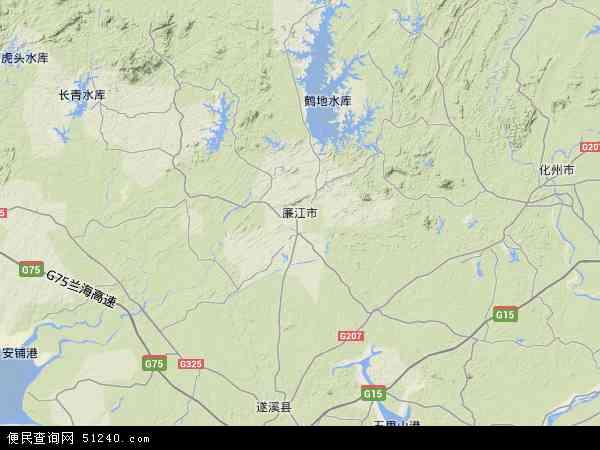 中国广东省湛江市廉江市地图(卫星地图)