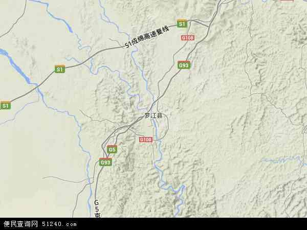 中国四川省德阳市罗江县地图(卫星地图)
