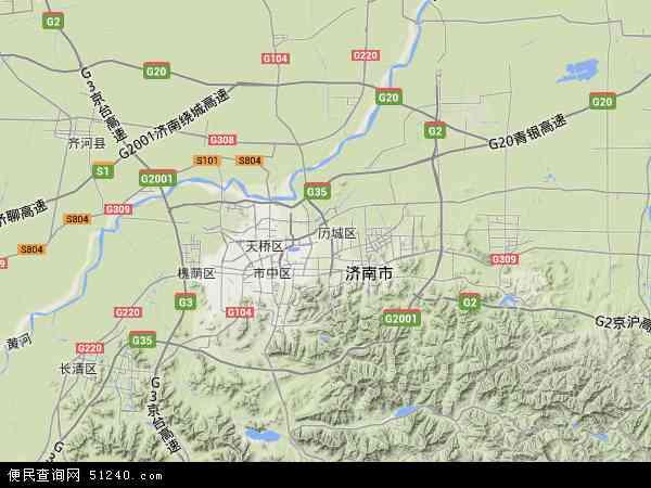 中国山东省济南市历城区地图(卫星地图)