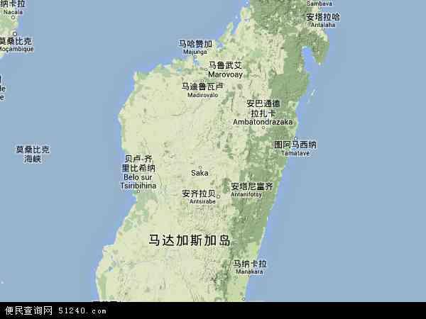 马达加斯加地形地图