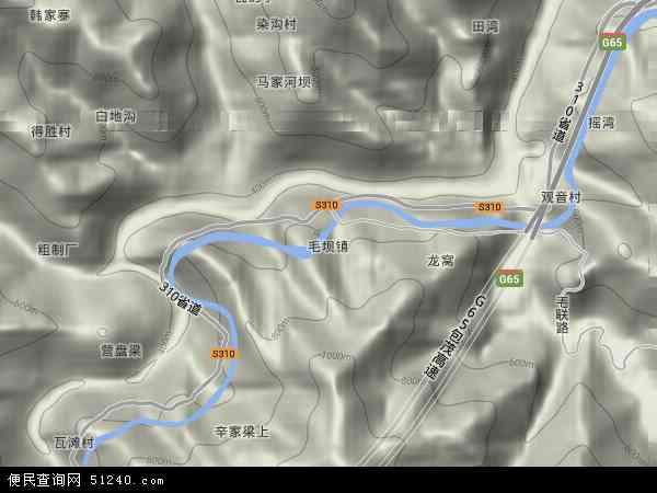 中国陕西省安康市紫阳县毛坝镇地图(卫星地图)