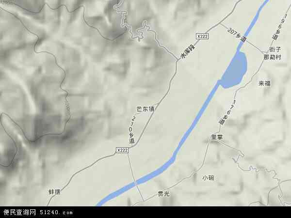 中国云南省德宏傣族景颇族自治州梁河县芒东镇地图(卫星地图)