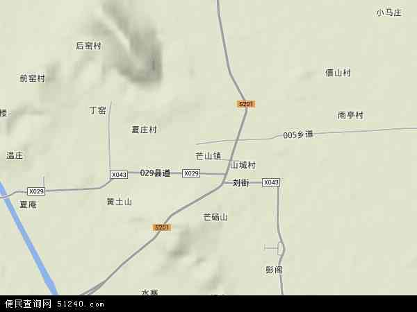 芒山镇地形地图