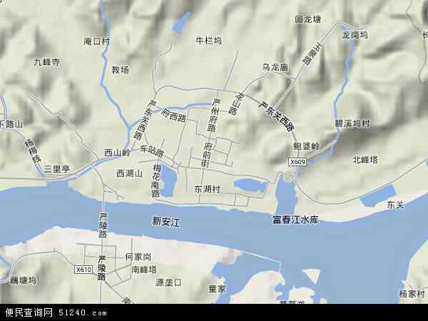 中国浙江省杭州市建德市梅城镇地图(卫星地图)