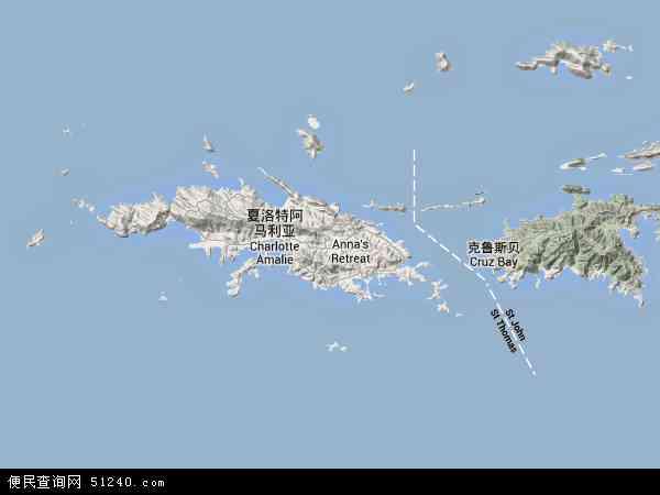 美属维尔京群岛地形图 - 美属维尔京群岛地形图高清版 - 2016年美属维尔京群岛地形图
