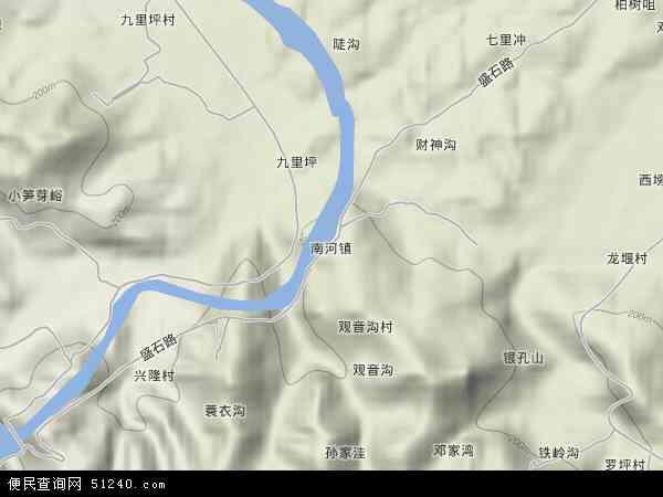 中国湖北省襄阳市谷城县南河镇地图(卫星地图)