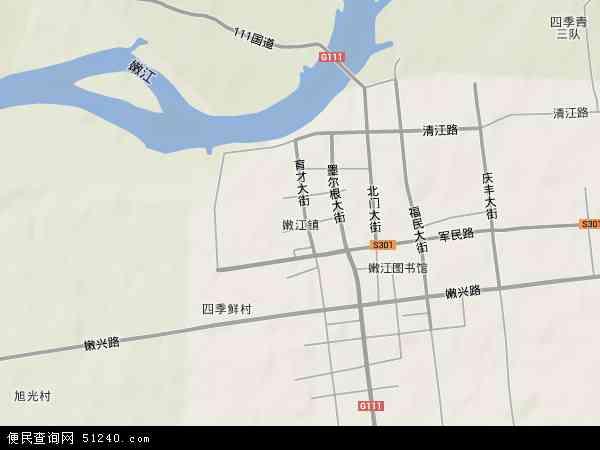 中国黑龙江省黑河市嫩江县嫩江镇地图(卫星地图)
