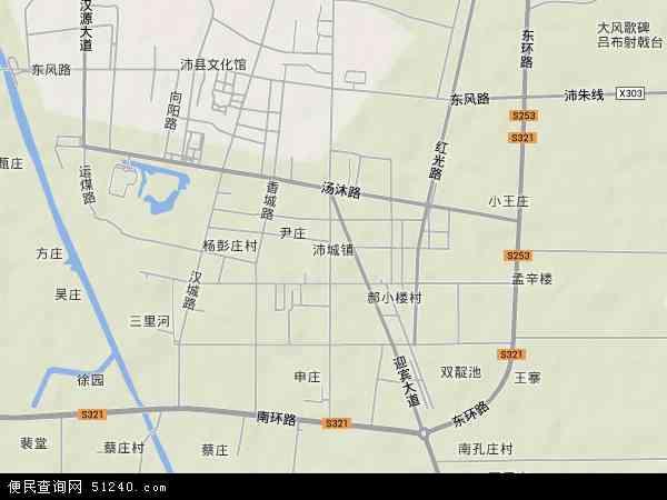 中国江苏省徐州市沛县沛城镇地图(卫星地图)