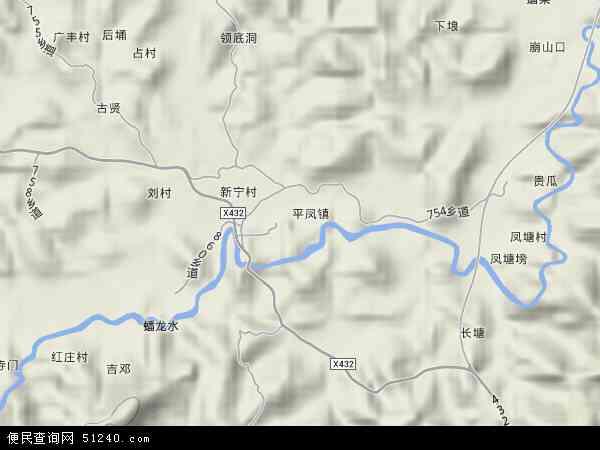 中国广东省肇庆市封开县平凤镇地图(卫星地图)