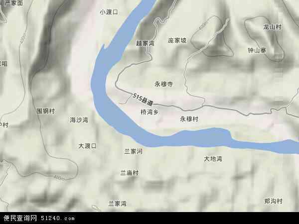 桥湾乡2017年卫星地图 中国四川省达州市达川区桥湾乡地图