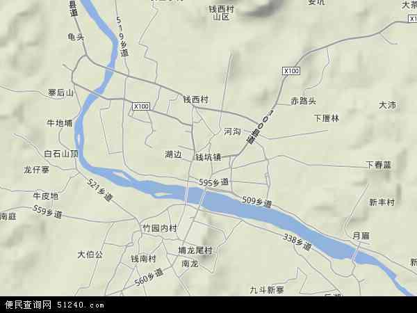 中国广东省揭阳市揭西县钱坑镇地图(卫星地图)