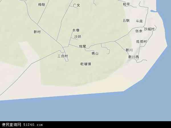 中国广东省湛江市坡头区乾塘镇地图(卫星地图)
