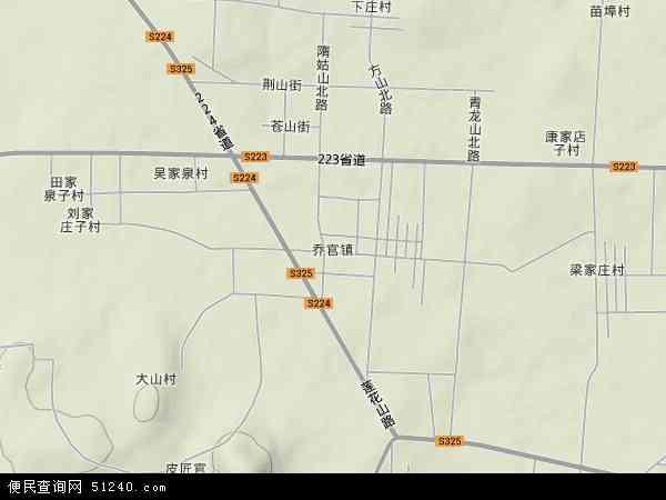 中国山东省潍坊市昌乐县乔官镇地图(卫星地图)