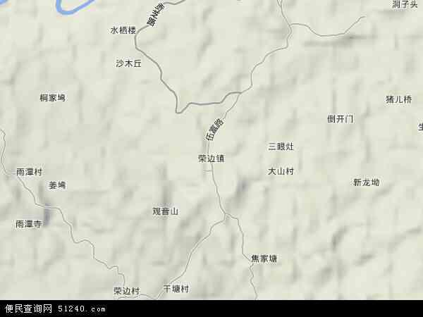 中国四川省自贡市自流井区荣边镇地图(卫星地图)