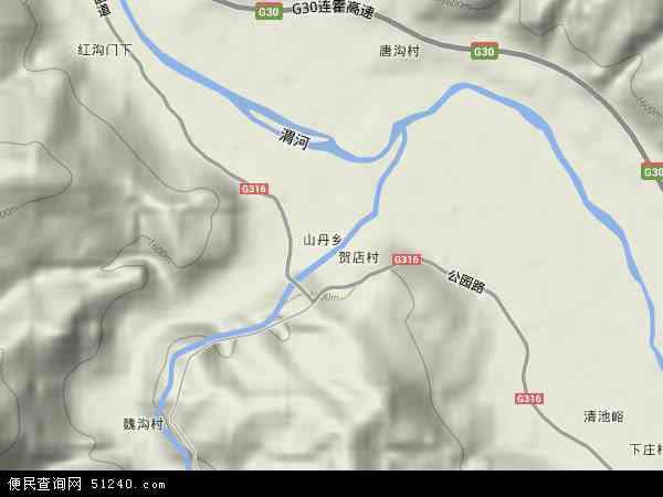 中国甘肃省天水市武山县山丹乡地图(卫星地图)