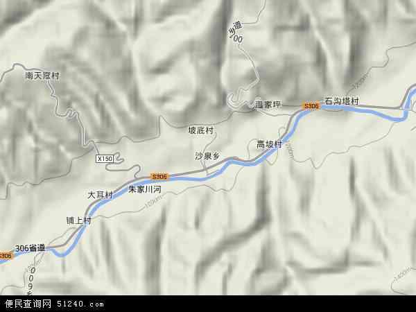 中国山西省忻州市河曲县沙泉乡地图(卫星地图)