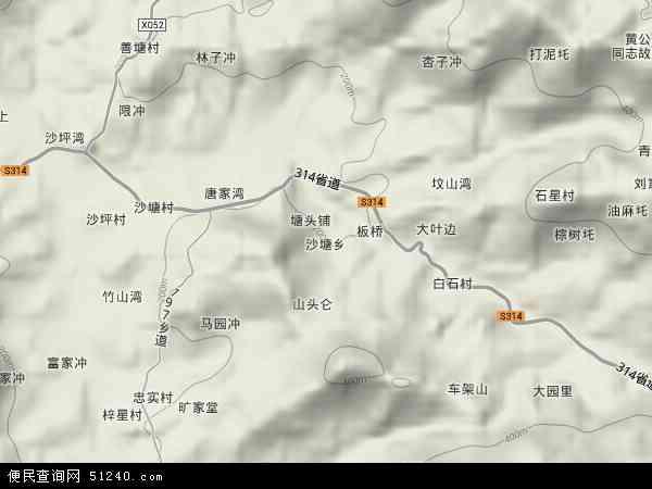 中国湖南省娄底市双峰县沙塘乡地图(卫星地图)