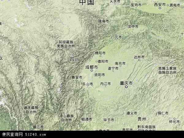 中国四川省地图(卫星地图)