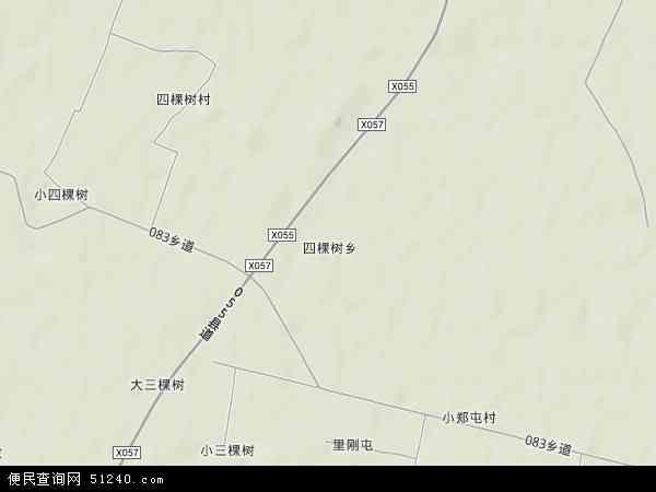中国吉林省四平市梨树县四棵树乡地图(卫星地图)