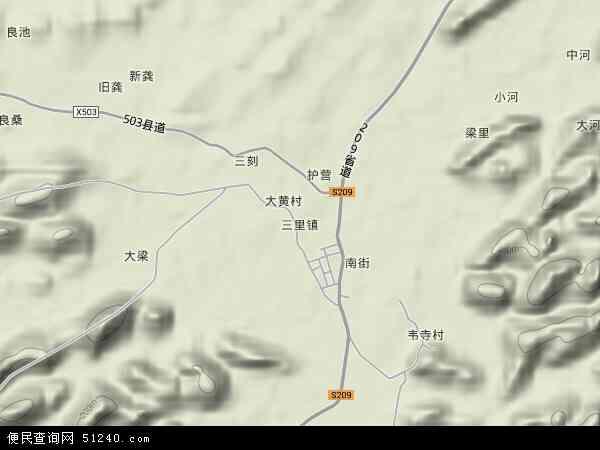 中国广西壮族自治区南宁市上林县三里镇地图(卫星