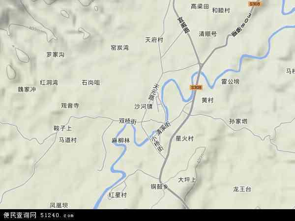 中国四川省宜宾市高县沙河镇地图(卫星地图)