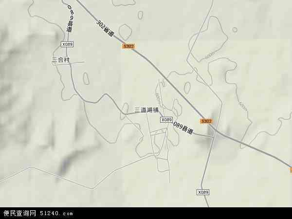 中国吉林省白山市靖宇县三道湖镇地图(卫星地图)