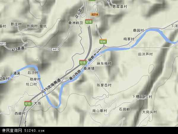 中国浙江省宁波市宁海县桑洲镇地图(卫星地图)