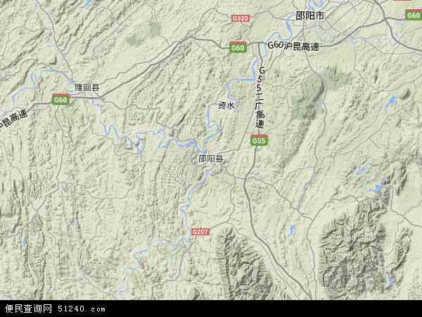 中国湖南省邵阳市邵阳县地图(卫星地图)