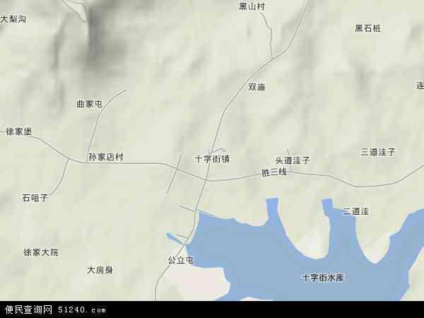 中国辽宁省丹东市东港市十字街镇地图(卫星地图)