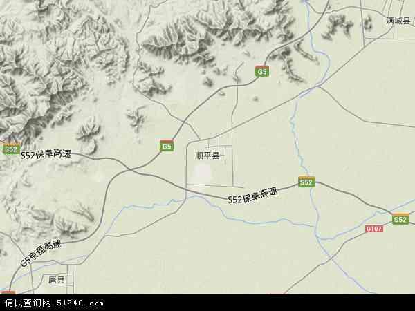 中国河北省保定市顺平县地图(卫星地图)