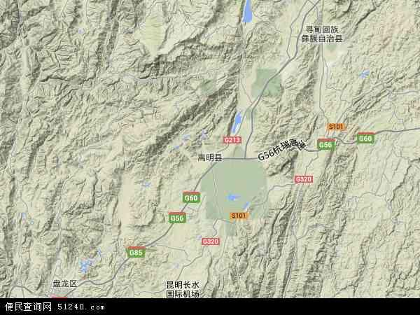 中国云南省昆明市嵩明县地图(卫星地图)