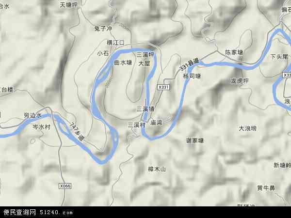 中國廣東省韶關市樂昌市三溪鎮地圖(衛星地圖)圖片