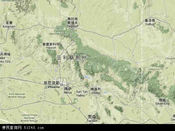 美国亚利桑那史卡兹代尔地图(卫星地图)