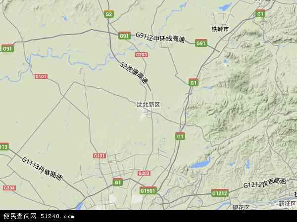中国辽宁省沈阳市沈北新区地图(卫星地图)