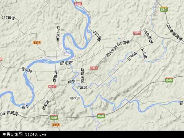 中国湖南省邵阳市双清区地图(卫星地图)